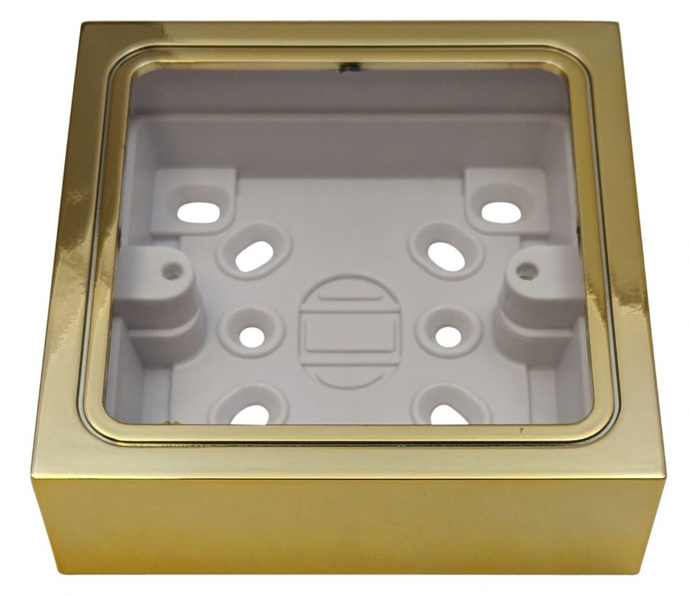 G&H 709B 1 Gang Polished Brass Surface Mounted Single 25mm Pattress Box
